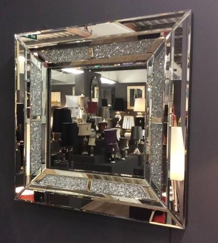 . Diamond Crush Sparkle Wall Mirror 90cm x 90cm