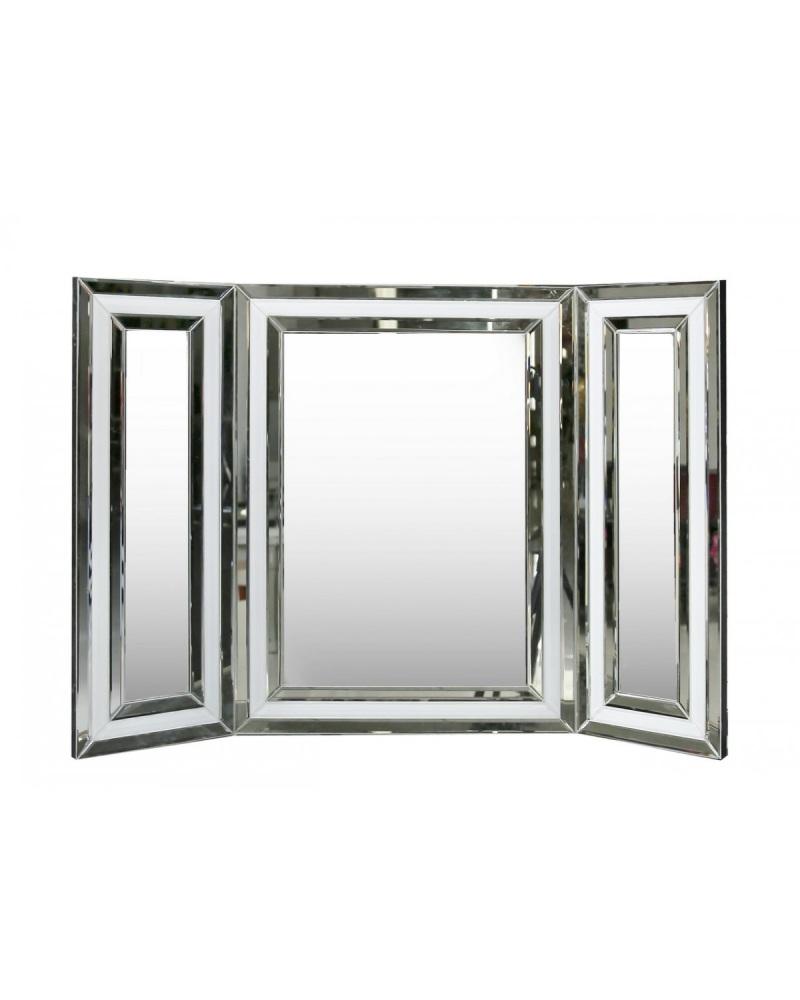 White Mirrored Manhatten Tri fold Mirror