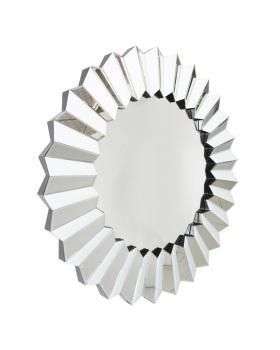 White Mirrored  Stepped Round Mirror 100cm dia