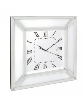 White Mirrored Wall Clock 50cm x 50cm
