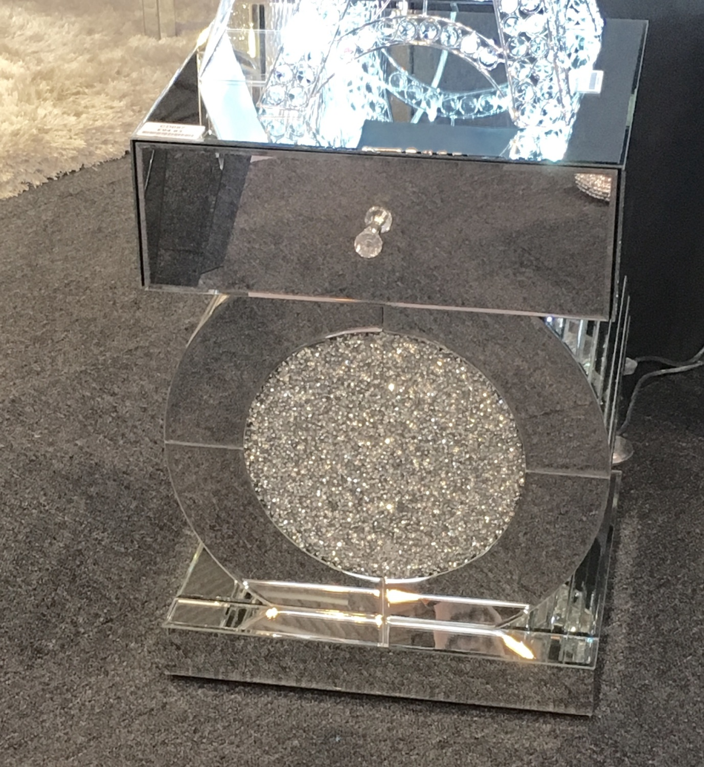 New Crush Sparkle Crystal Oval Mirrored 1 Draw Bedside Chest