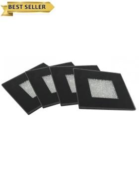 Crush Sparkle Mirrored Black Coasters set of 4