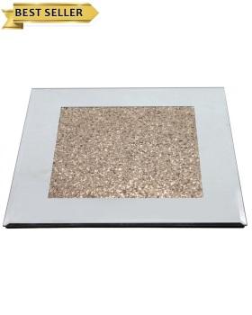 Crush Sparkle Mirrored Plate Holder 30cm x 30cm gold centre