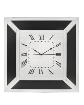 Black Mirrored Manhatten Wall Clock 50cm x 50cm