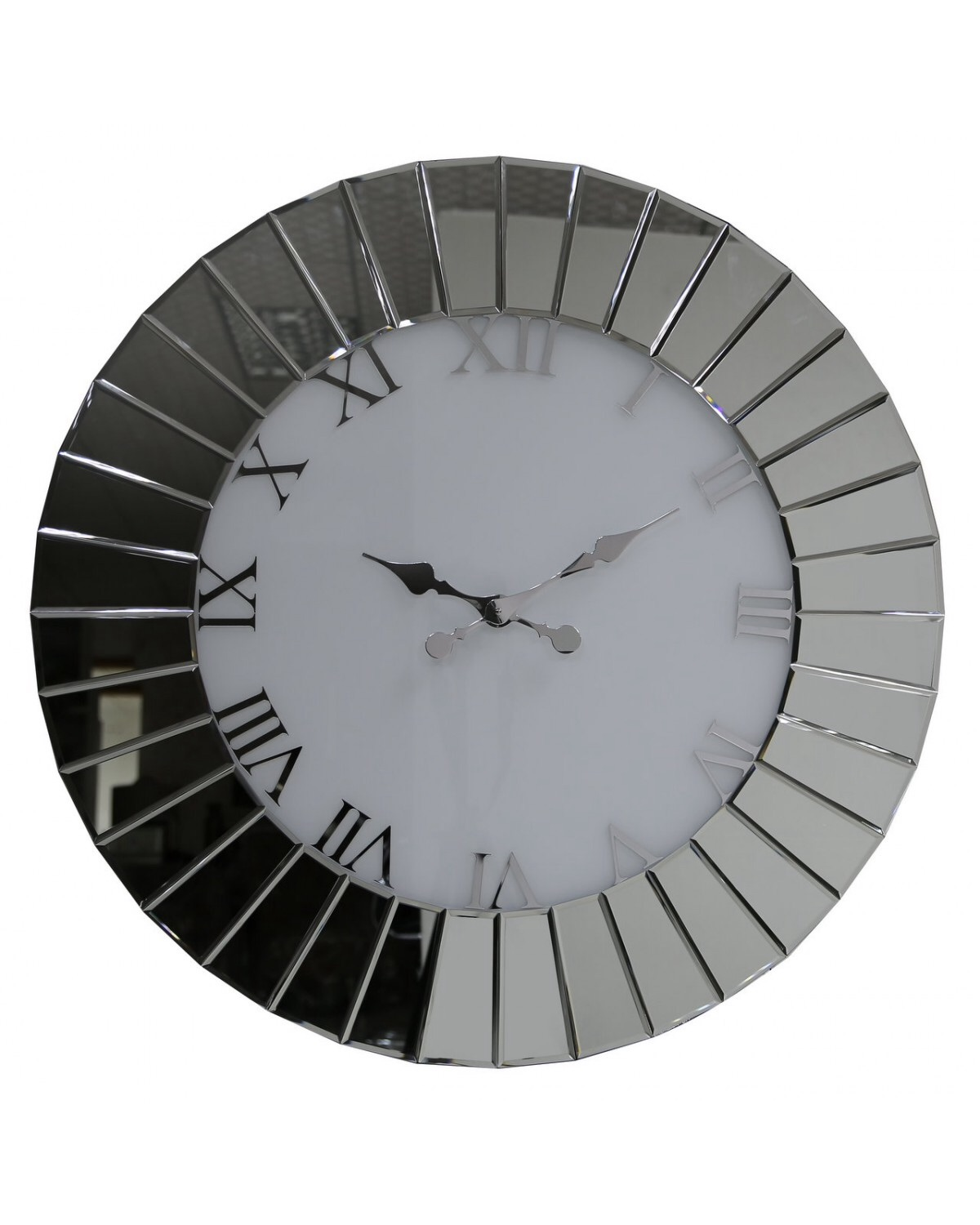 Round Mirrored Wall Clock 60cm Dia In Stock For A Fast