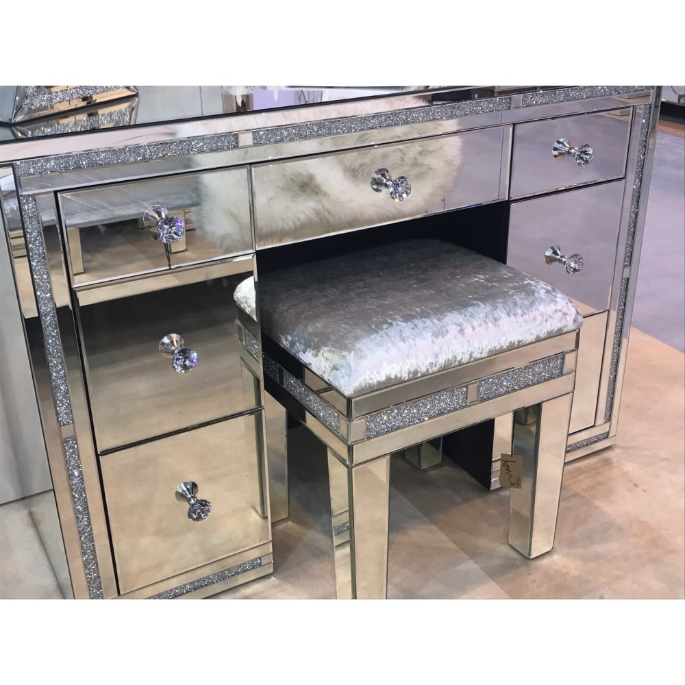 Diamond Crush Crystal Sparkle Mirrroed Milano 7 Draw Dressing Table Desk