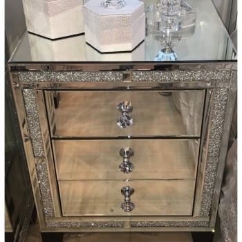 * Crush Sparkle Crystal Mirrored 3 draw Bedside Chest