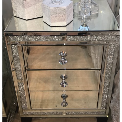 New Diamond Crush Sparkle Crystal Mirrored 3 Draw Bedside Chest