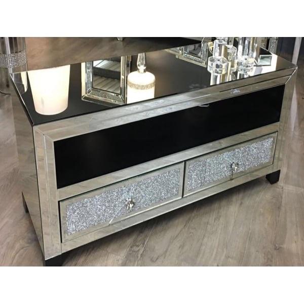 Crushed Diamond Mirrored Coffee Table: * Diamond Crush Sparkle Mirrored Milano TV Entertainment