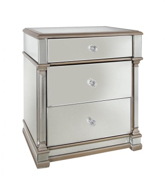 Athena 3 Draw Gold & Silver Mirrored chest of draws