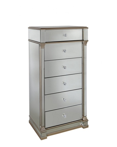 Athena 6 Draw Gold & Silver Mirrored chest of draws