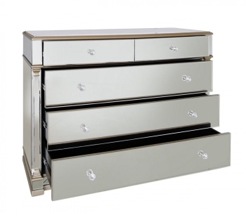 Athena 2 over 3 Gold & Silver Mirrored chest of draws