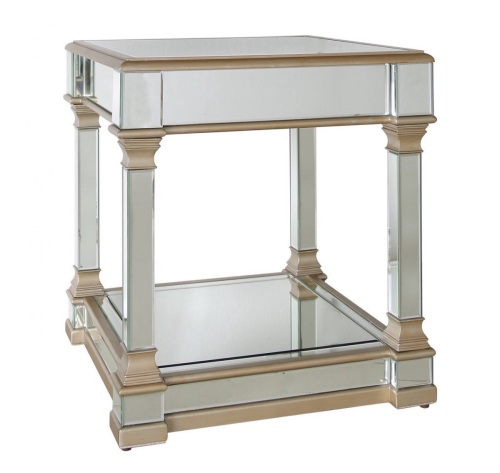 Athena Gold & Silver Mirrored Lamp Table