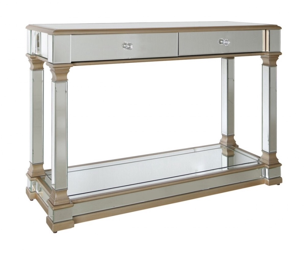 Athena 2 Draw Gold  & Silver Mirrored Console Table