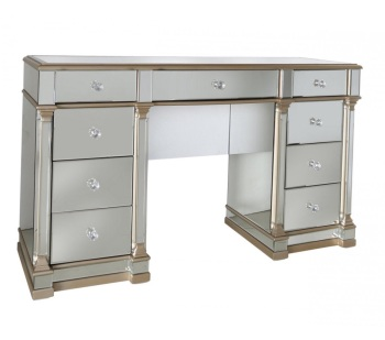 Athena 9 Draw Gold  & Silver Mirrored Desk / Dressing Table