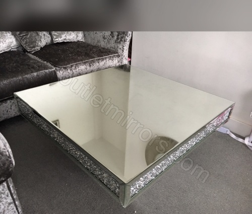 New Diamond Crush Sparkle Crystal Mirrored Square Coffee Table
