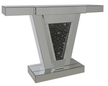 Black Jewel Floating Crystals Mirrored Console Table 119cm
