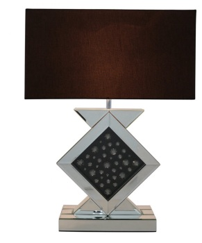 Black Jewel Floating Crystals Mirrored Lamp