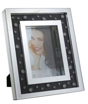 "Black Jewel Floating Crystals mirrored Photo Frame 5"" x 7"""