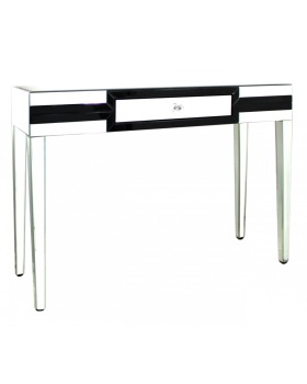 Seattle Black Mirrored 1 Draw Console Table