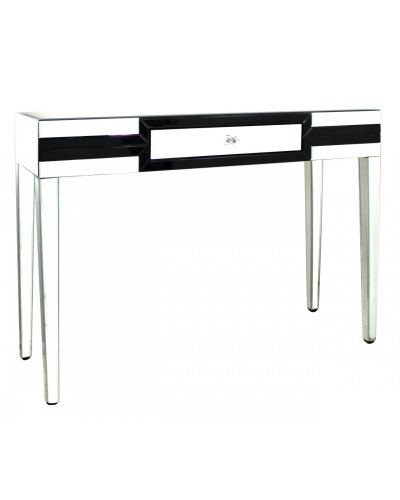 Black Mirrored Manhatten 1 Draw Console Table