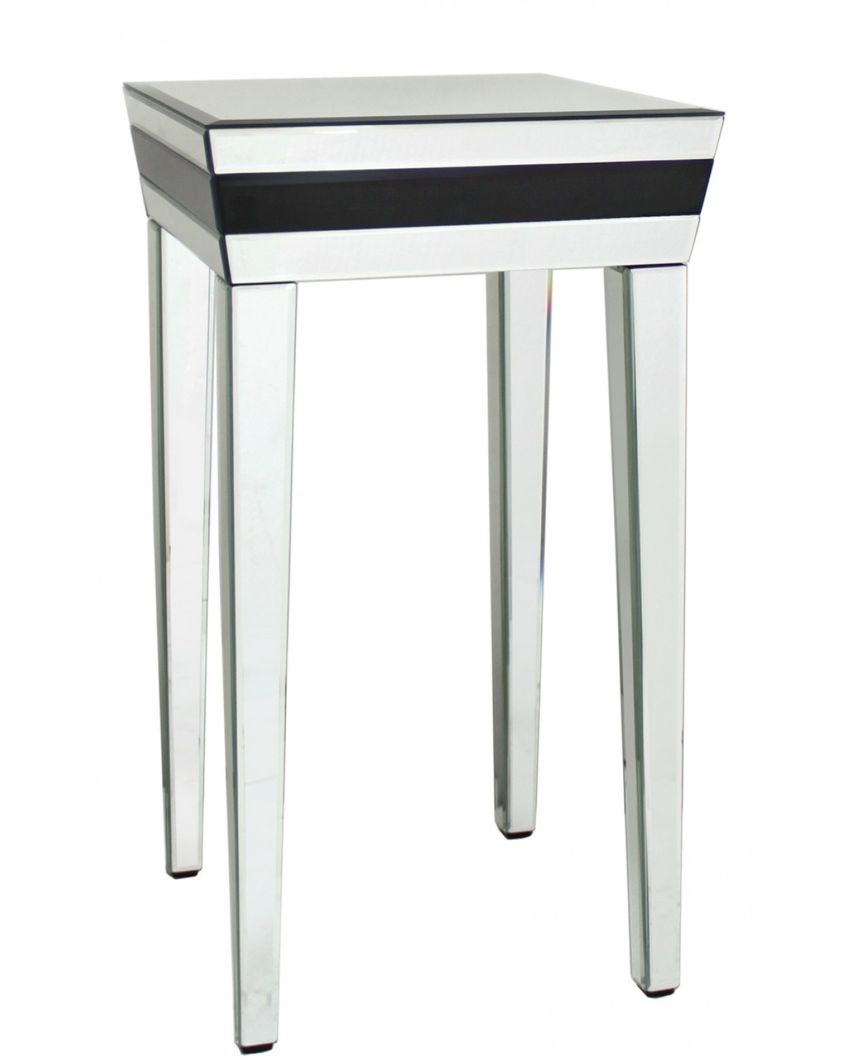 Frameless Glass Coffee Table: Seattle Black Mirrored Manhatten End Table