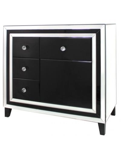 Black Mirrored Manhatten 4 Draw chest