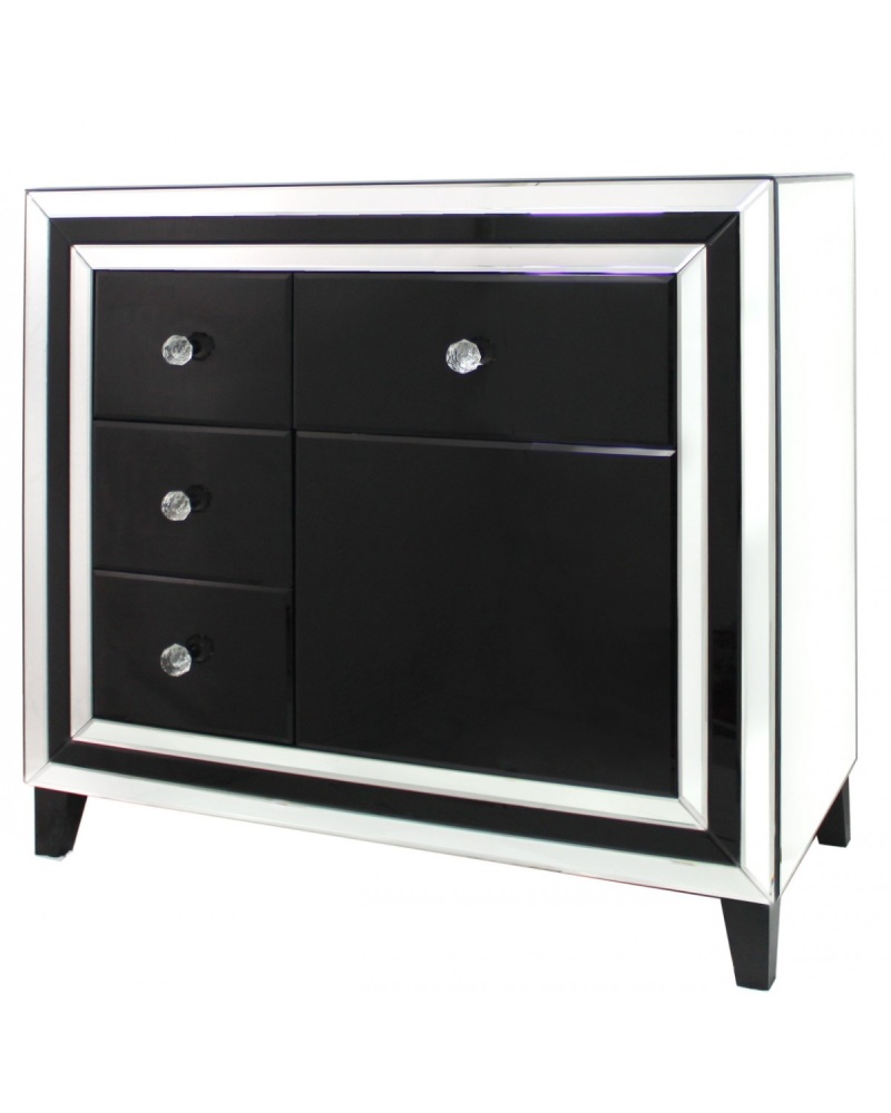 Black Mirrored Manhatten 4 Draw chest