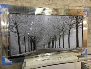 "Mirror framed art print "" Winter wonderland"" 114cm x 64cm  in stock for a quick delivery"