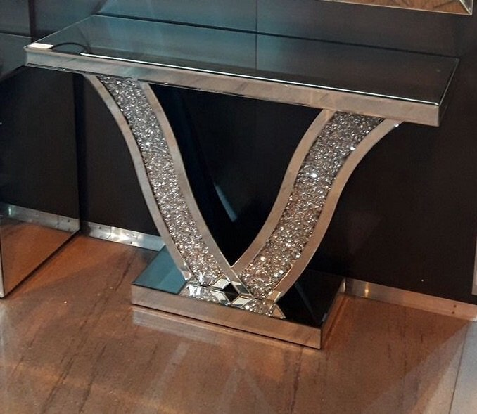 Diamond Crush Crystal Sparkle Wave Console Table