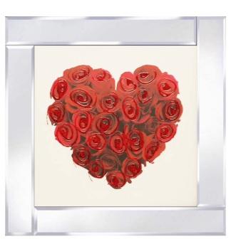 """Mirror framed art print """"Red Rose Heart"""""""