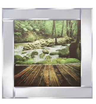 "Mirror framed art print ""Green Rock Water Scene"""