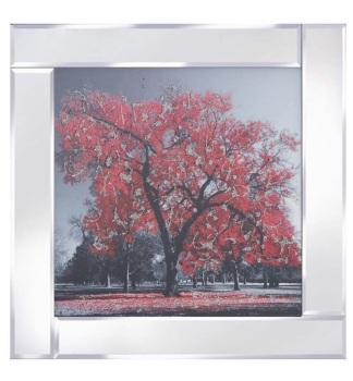 """Mirror framed art print """"Red Tree"""""""
