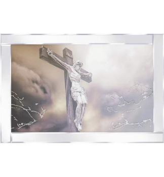 "Mirror framed art print ""Jesus on Cross"" 100cm x 60cm"