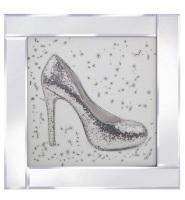 """Mirror framed art print """"Glitter Shoe"""""""