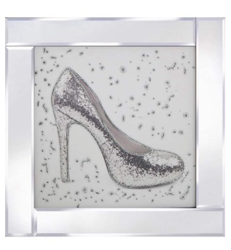 "Mirror framed art print ""Glitter Shoe"""