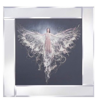 "Mirror framed art print ""Floating Angel"" 60cm x 60cm"