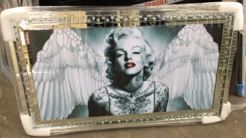 """Angels Wings Monroe"" Wall Art in Mirrored Floating Cystals Frame"