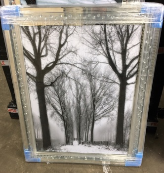 """Winter Wonderland"" Wall Art in Mirrored Floating Cystals Frame"