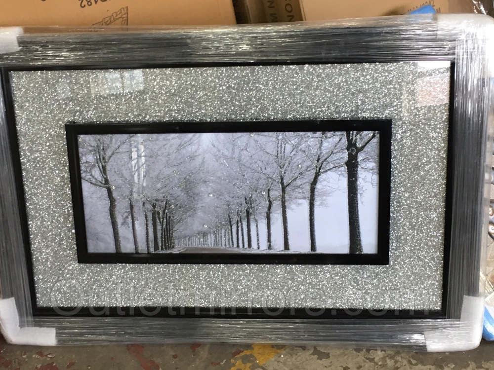 Winter wonderland wall art with silver sparkle backing stepped black frame - Sparkle wall decor ...