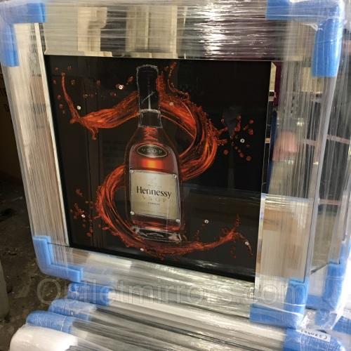 ** Hennessy Glitter Art Mirrored Frame ** 57cm x 57cm