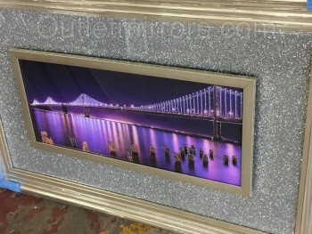 """Night scene"" Wall Art  with Silver Sparkle backing & Stepped champagne Frame"