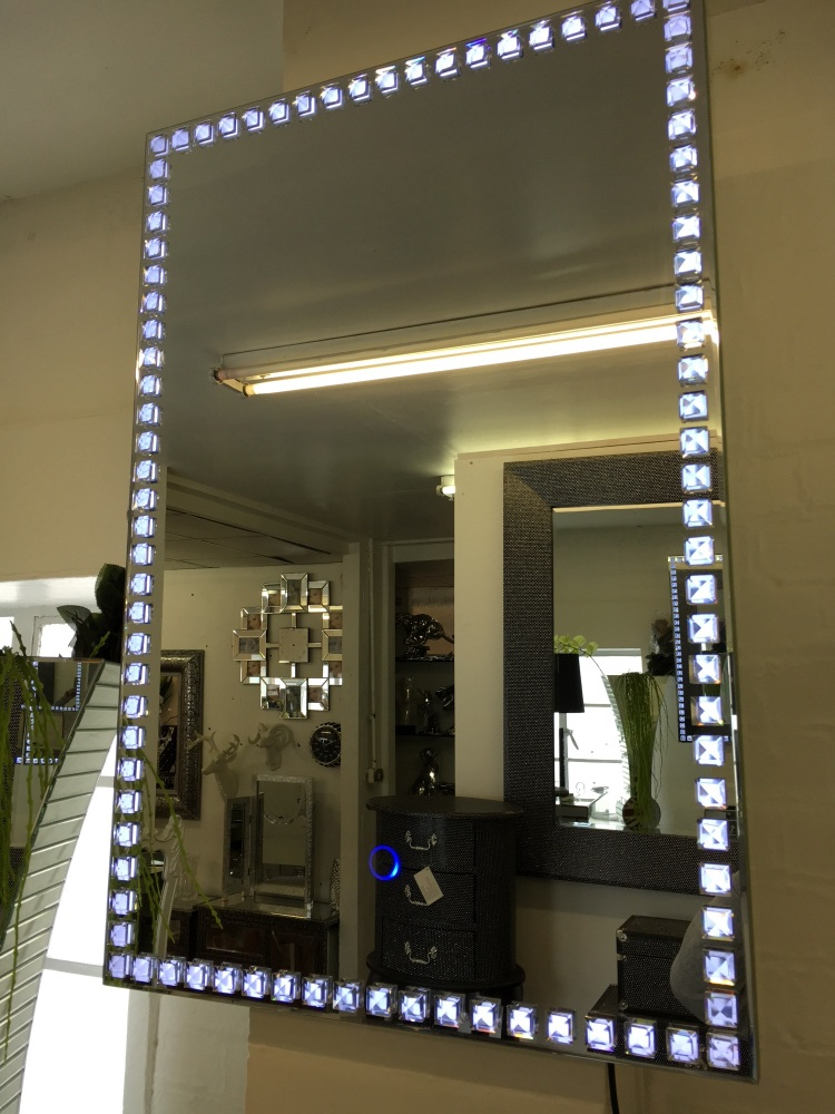 Led Crystal Wall Mirror 90cm X 60cm