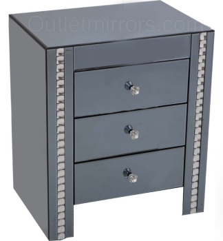 Crystal Border Smoked Grey Mirrored 3 draw Chest