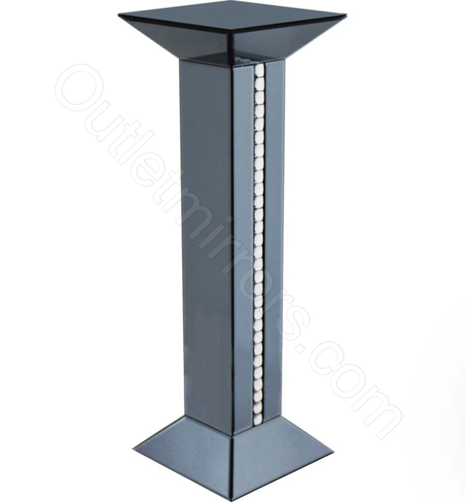 Crystal Border Smoked Grey Mirrored Tall Pedestal