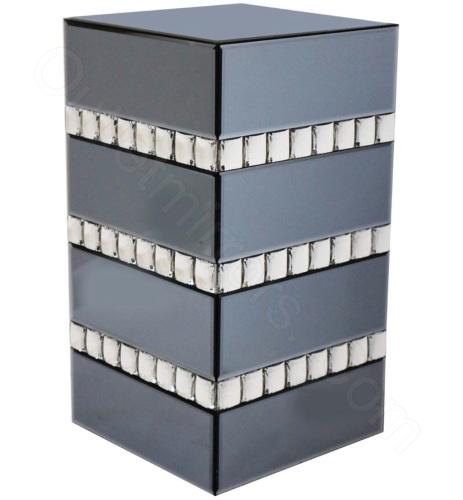 Crystal Border Smoked Grey Mirrored Side Table