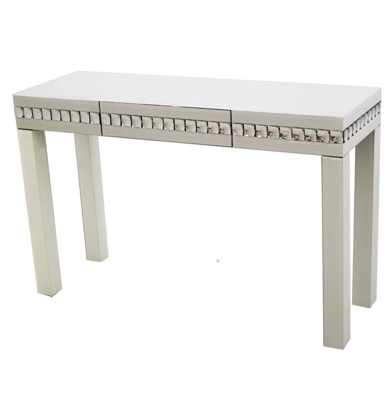 Crystal Border White Mirrored Console Table