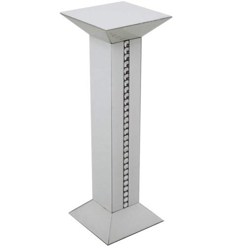 Crystal Border White Mirrored Tall Pedestal