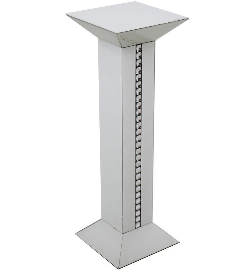 Crystal Border White Mirrored Tall Pedestal