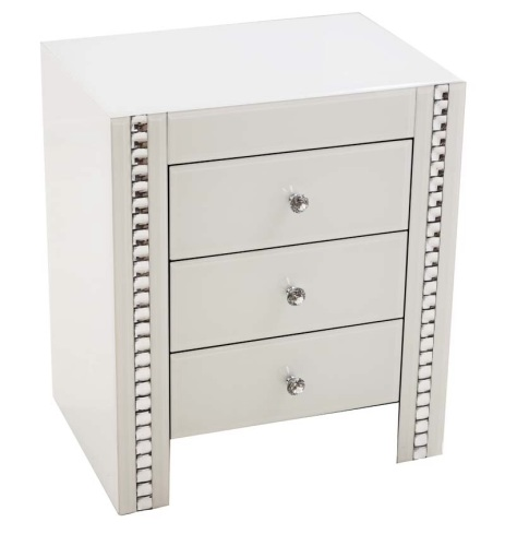 Crystal Border White Mirrored 3 draw Chest